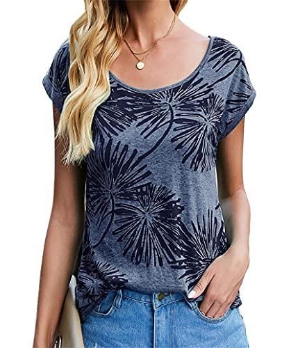Cassiecy Damen T-Shirt Sommer Kurzarm Rundhals Casual Oberteile Baumwoll Basic Tops Shirt(NA,m)