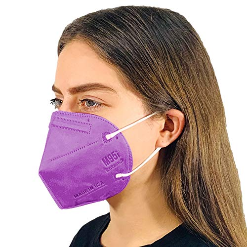 M95i Disposable 5-Layer Efficiency Protective Adult Face Mask 5-Ply Design Made in USA 5 Units (Lavender Purple)