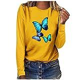 Sudadera con estampado de mariposa para mujer, cuello redondo, manga larga, blusa básica, túnica informal, suéter de gran tamaño