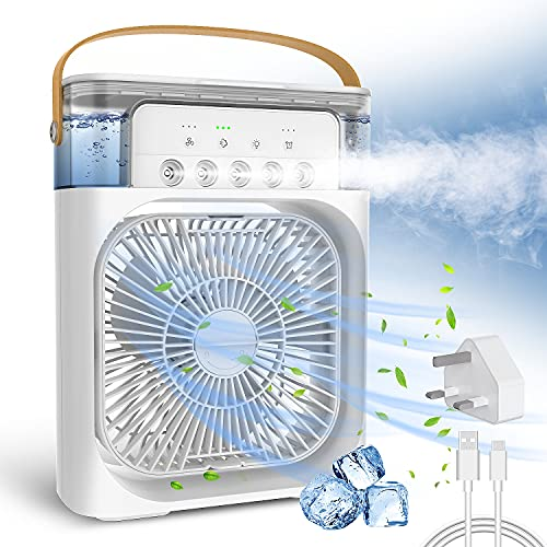 AuLink Portable Air Cooler USB Desk Fan Evaporative Cooler Humidifier with Timer, Aroma Diffuser, 7 Colors LED Light, 5 Sprays, 3 Wind Speeds for Room Travel Office