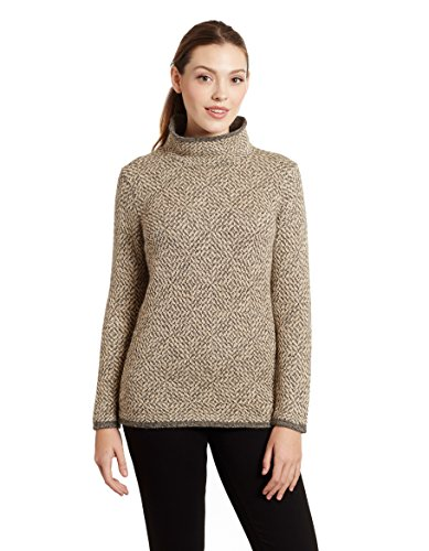 Invisible World Damen 100% Alpaka Wolle Pullover Rollkragenpullover Asti - L