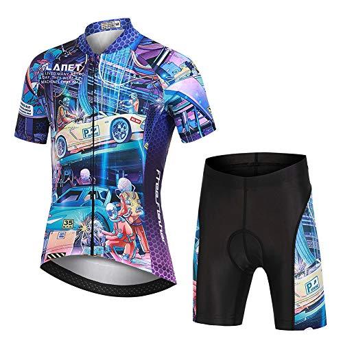 YFPICO Maillot Vélo Manches Courtes et Cuissard Cycliste VTT 3D Coussin Rembourré Tenue Cyclisme Confort Enfant Garçon Fille, Bleu, 5-6 Ans/S