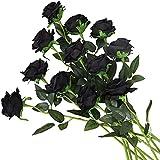 Yyhmkb 12 Piezas Rosas Flores Artificiales Realistas Flores De Un Solo Tallo Ramo De Rosas De Seda para Boda Fiesta Oficina Decoración del Hogar Negro