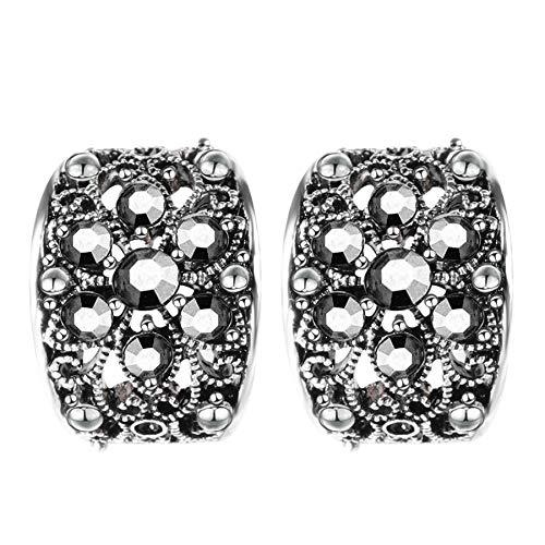 Vintage Stud Pendientes para mujer moda antigua plata color hueco cristal flor arete bohemia joyería