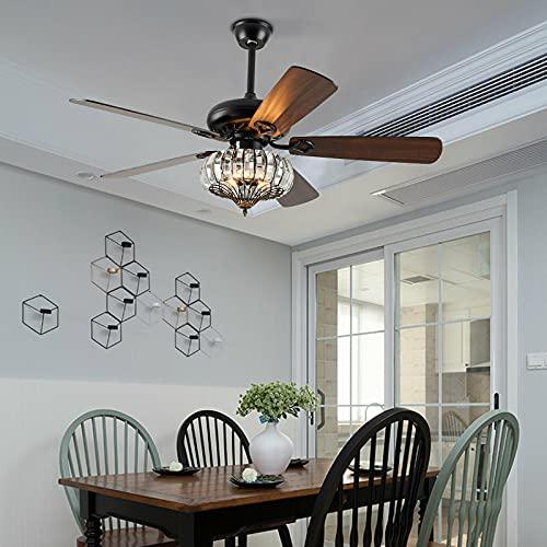 Ventilador de techo con cinco aspas de 52 pulgadas, retro, ventiladores de techo con iluminación y mando a distancia, sin bombilla
