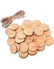 ROSENICE Madera rebanadas madera troncos de troncos discos con 10 m de cuerda de yute para artesanía de bricolaje 50 piezas (4-5cm)