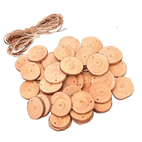 ULTNICE - Troncos redondos de madera sin acabar, con cordel de yute,...
