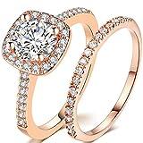 Silver Rose Gold 2 Carat Wedding Engagement Eternity Bridal Ring Set (Rose Gold, 7)