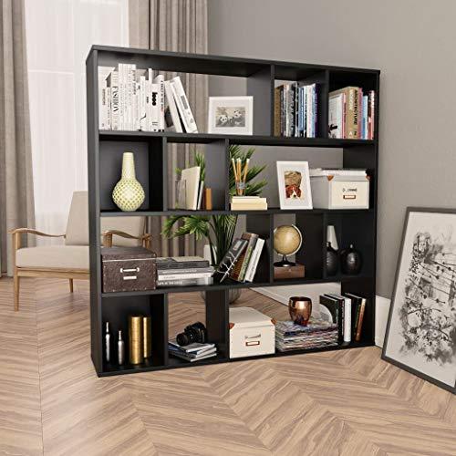 vidaXL Raumteiler Bücherregal 12 Fächer Wandregal Standregal Aktenregal Raumtrenner Büroregal Regal Bücherschrank Schwarz 110x24x110cm Spanplatte