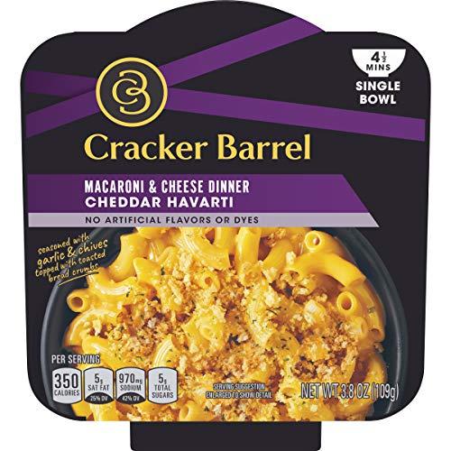 Cracker Barrel Single Bowl Cheddar Havarti Macaroni and Cheese Dinner (3.8 oz Bowls, Pack of 6)