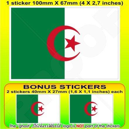 ALGERIE Algérienne Drapeau Alger, 100mm Vinyle Autocollant, x1+2 BONUS Stickers