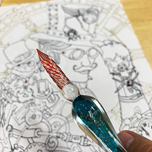 ガラスディップペンセット(フラワー桃色)文字・イラスト・絵画・スケッチ・アート
