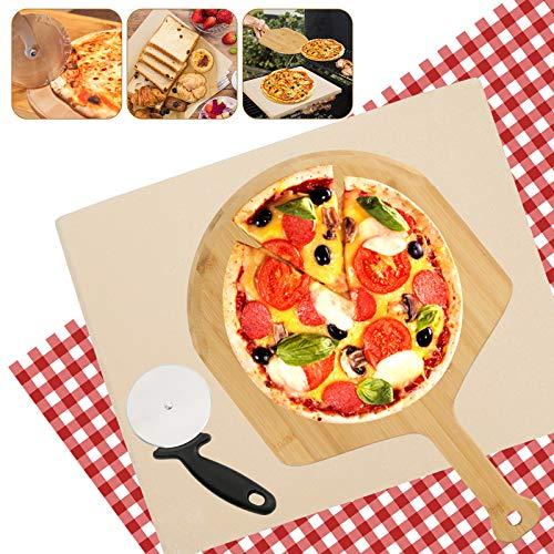 Hengda Pizzastein aus Cordierite mit Pizzaschaufel, für Backofen und Gasgrill (38 x 30 x 1,5 cm)