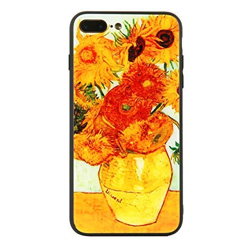 Beatuiphone Case Compatible iPhone 7 Plus iPhone 8 Plus Tempered Glass Back TPU Frame Hybrid Shock Scratch Resistant Van Gogh Sunflower Painting(Purple Queen)