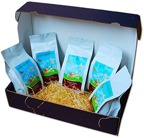 Osterkaffee Geschenkset - 5 x 200 g feinste Kaffeesorten als Ostergeschenk (ganze Bohnen)