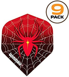 Art Attack 9 Pack Winmau Mega Red Spider Web 75 Micron Strong Dart Flights