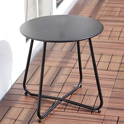 Grand patio Round Metal Side/End Table, Steel Patio Coffee Table for Bistro, Porch, Weather Resistant Outside Table Small (Black)