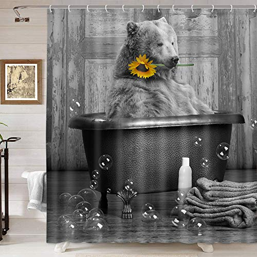 Funny Bear Shower Curtain for Bathroom, Animals Bear with Sunflower Bubbles in Bathtub Take Shower Art Shower Curtain, Farmhouse Grey Shower Curtain with Hooks, Kids Shower Curtain 69X70IN
