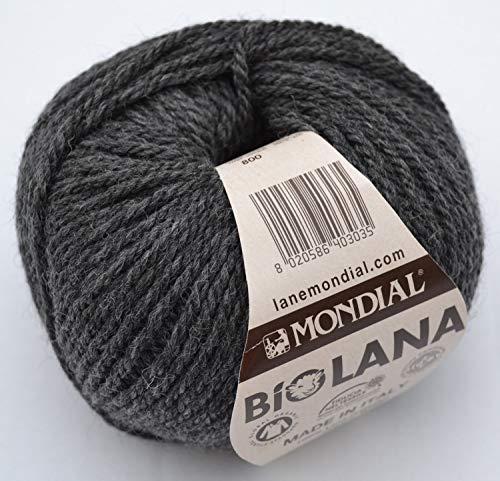 Lane Mondial 50Gramm Bio Wolle, Col. 800–Dunkelgrau, ökologischen Wolle, Strickgarn, Häkelnadel