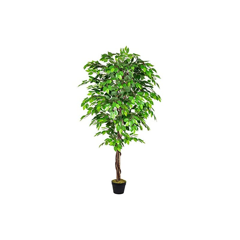 silk flower arrangements dearhouse 5.6ft ficus silk tree, artificial tree ficus tree with natural trunk andplastic nursery pot, fake plant for living room balcony corner decor,indoor-outdoor use