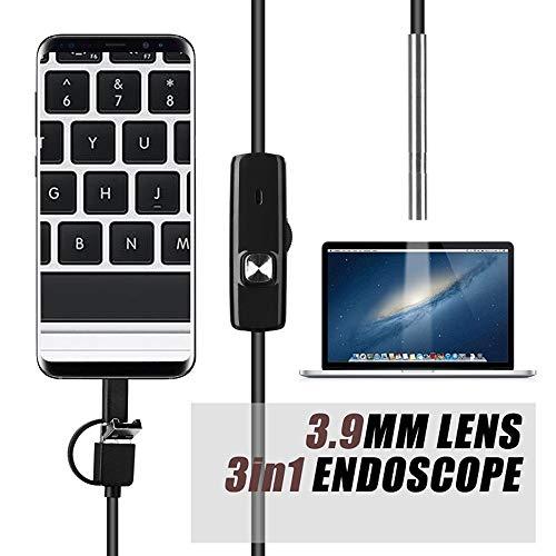 3 in 1 Endoskop Kamera 3.9MMUSB Mini IP67 Camcorder IP67 wasserdichten LED Boroskop Inspektionskamera Windows-PC Macbook Android,1m hard line