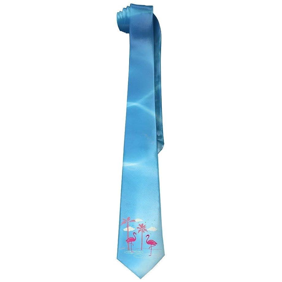 ZOZGETU Necktie, Men's Soft FLAMINGOS Coconut Trees Tie