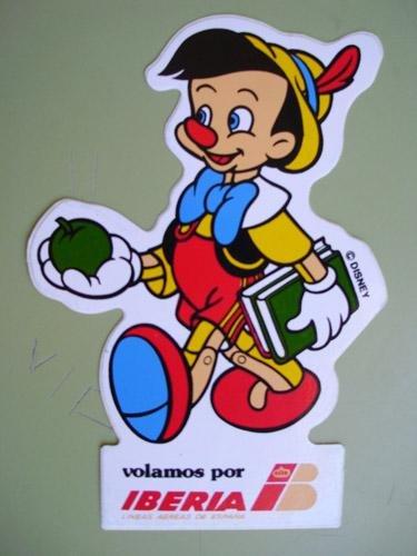 Pegatina Adhesivo Publicidad - Advertising Bumper Sticker : IBERIA - Pinocho