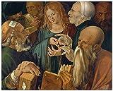 Números para niños adultos - Albrecht Dürer Christ entre los médicos - Pintura digital de bricolaje por kits de números en lienzo-40x50cm con marco