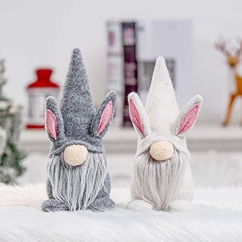 Gnomes - Adornos de conejo de Pascua, 2 unidades, figura de peluche escandinavo Tomte enano, decoración de huevos de Pascua, para niños, familia, deco