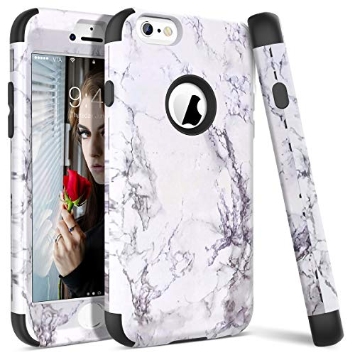 WE LOVE CASE iPhone 6 Cover Marmo 360-Grad all Inclusive Custodia Nero Cassa Duro del PC di Plastica e Silicone Protezione Shock Proof Anti Graffio Caso Backcover per Apple iPhone 6 / 6s 4,7'