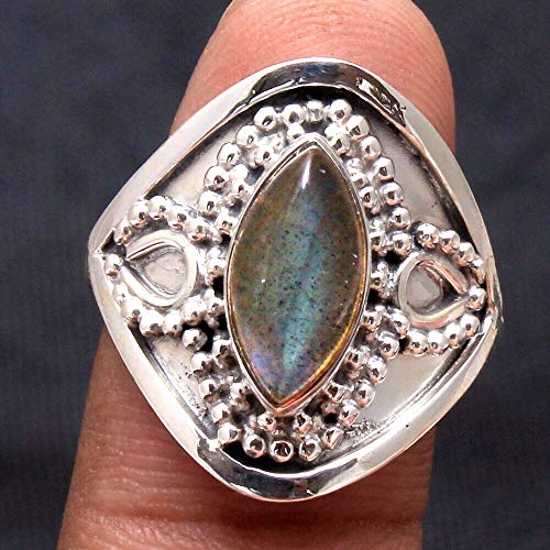 Solid 925 Sterling Silver Rings for Women & Girls, Sterling Silver Labradorite Rings, Bridesmaid Rings, Statement Christmas Gift, Handmade Jewelry