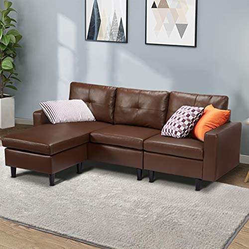 Esright Small Faux Leather Sectional Sofa Couch 3 Piece Living Room Small Convertible Couch Dark Brown Leather L-Shape Couch with Chaise Lounge for Small Space Apartment, Dark Brown