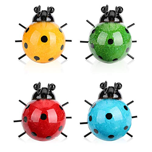 AriCoCo Garden Decor, 4 Cute Metal Ladybugs Garden Lawn Decorative Outdoor Wall Sculptures,Halloween and Christmas Decor with Hook on The Back (4 Packs)