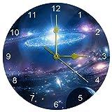 ROYALLOVE 掛け時計 星空 夜空 北欧風 クロック 壁掛け 時計 円形 おしゃれ 置き時計 連続秒針 電池 直径約25CM