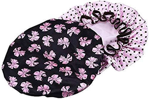 ULTNICE 2pcs Bonnet de douche imperméable Cheveux Accessoire Pour les femmes filles(bonnet noir avec papillon rose et bonnet rose avec pois marron)