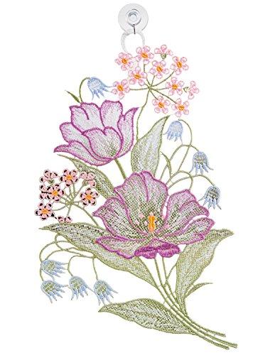 Fensterbild Plauener Stickerei - Frühlingsblumen -