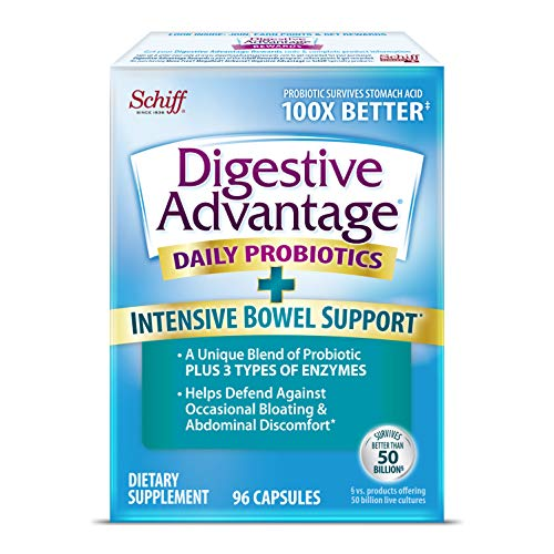 IBS Daily Probiotic Capsules for Digestive Health & Gut Health, Digestive Advantage Probiotics For Men and Women (96 count box) - Digestible Enzymes