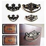6 pezzi ottone antico bronzo gioielli scatola cassetto armadio maniglia maniglia manopola fiore forma pipistrello, forma fiore 72x44mm