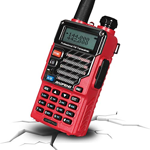 BAOFENG UV-5R+ Plus Two Way Radio, Long Range for Adults Rechargeable with Earpiece, Walkie Talkie for Outdoors, Ham Radio UHF VHF, Qualette Series (Red)