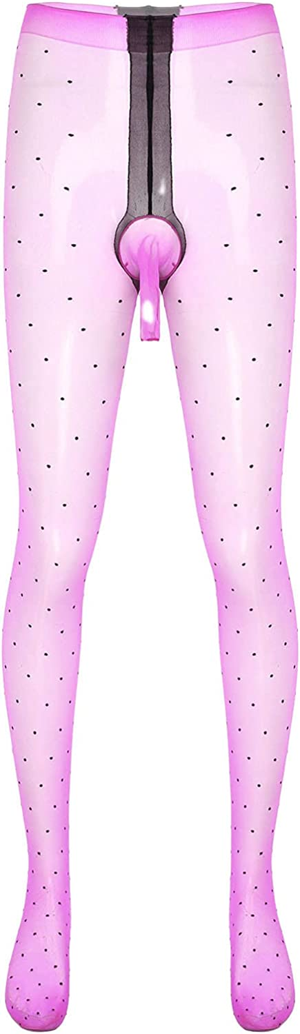 Sissy Men Lingerie See-through Stockings Dot Pattern Bulge Pouch Pantyhose Glossy Tights Stretchy Thin Underwear