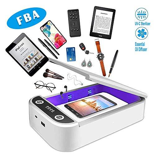 Esterilizador de teléfono celular con desinfectante UV, esterilizador de teléfono inteligente portátil con función de aromaterapia, carga USB para iOS Android teléfono móvil cepillo de dientes