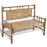 vidaXL Bambú Banco Plegable con Respaldo Mueble Jardín Patio Asiento Terraza