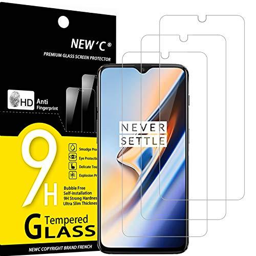 NEW'C Lot de 3, Verre Trempé Compatible avec One Plus 6T, One Plus 7, Film Protection écran sans Bulles d'air Ultra Résistant (0,33mm HD Ultra Transparent) Dureté 9H Glass