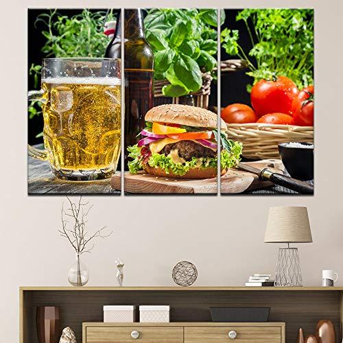 Bier hamburger tomaat groenten Voedsel canvas schilderij Wall Art Pictures Posters prints restaurant keuken woonkamer Home Decor-30x60cmx3 (geen frame)