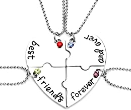 MJartoria Best Friend Neckalces Customizable Rhinestone Best Friends Forever and Ever BFF Necklace Engraved Puzzle Friendship Necklaces Set Split Heart Pendant Necklace Set of 3 or 4