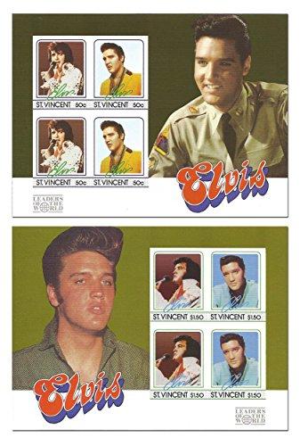 Il set imperforate Elvis Presley per la filatelia con 2 fogli corrispondenti del Re del Rock and Roll