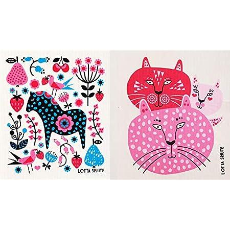 3 PACK Modern Cat pattern Eco-Friendly Swedish Dishcloths Cellulose Sponge Cloths