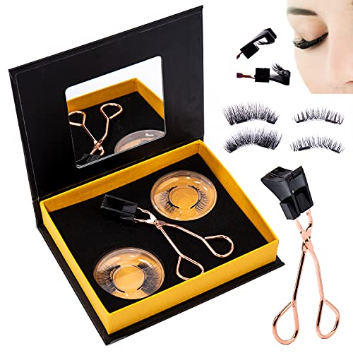 Dual Magnetic Eyelashes, Ultra Thin Reusable Magnet eyelashes, Fake Lashes Extension with Applicator (2 Pack/ 8 Pieces)
