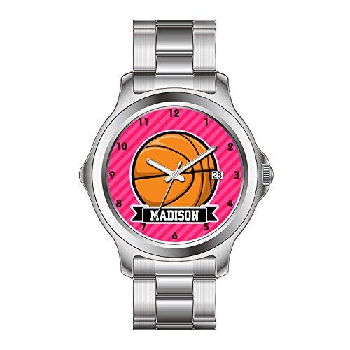 FDC–Navidad Regalo Relojes Fashion Fecha Acero Inoxidable Reloj de Pulsera de Cuarzo japonés de la Mujer de Baloncesto en Color Rosa Rayas, Rayas