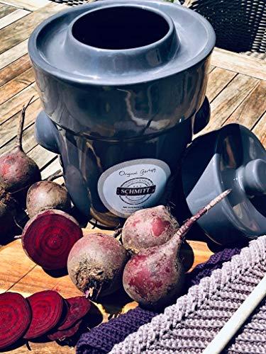 Gärtopf Sauerkrauttopf 3 Liter + Steine Stein-grau Milchsäuregärung ideal für Vegetarier Sauerkraut selbermachen Einmachtopf Fermentation Rezepte